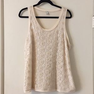 J Crew Lace Tank Top Sz Large Cream/Blush Pink